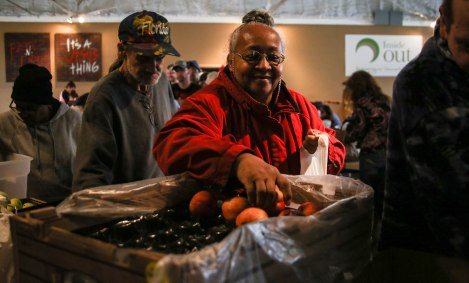 Fresh produce was available to Muncie community members at the Blood N' Fire community meal on April 14 in Muncie, IN. The organization has a community meal every Saturday. Photo by Rebecca Slezak