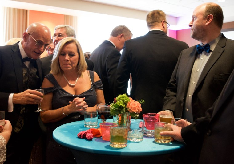 "Guests gather at a VIP party at the Rialzo Charity event by Meridian Health Services in Muncie, Ind. on April 14, 2018. Rialzo is Meridian Health Services' annual charity gala celebrating the harmony of ""whole-person"" health."