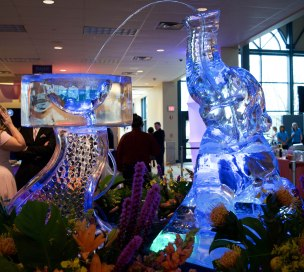 "An ice sculpture at the Rialzo Charity Gala hosted by Meridian Health Services represents their theme of ""A Whole New World"" in Muncie, Ind. on April 14, 2018. Rialzo is Meridian Health Services' annual charity gala celebrating the harmony of ""whole-person"" health. Photo by: Mallory Huxford"