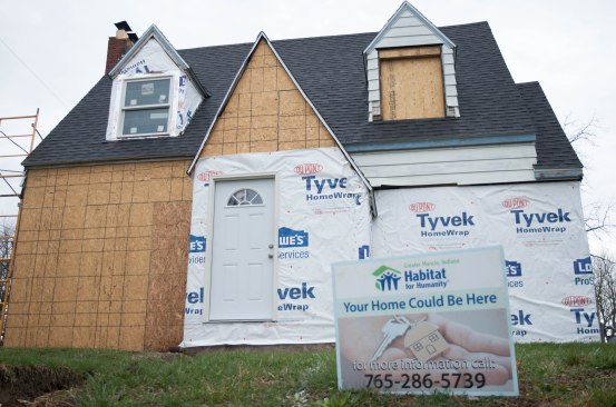 A home at 1616 South Elm Street in Muncie, Ind. is being worked on by Habitat for Humanity, an organization that builds and restores affordable homes for families. Photo by: Mallory Huxford