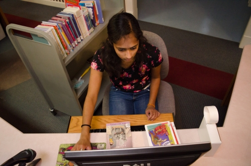 Ruchi Patel volunteers at the Dalesville Library every Tuesday after school. Patel's job is to organize the book shelves, make panphlets, and make sure the library is a clean enviroment. Stephanie Amador, NPPA