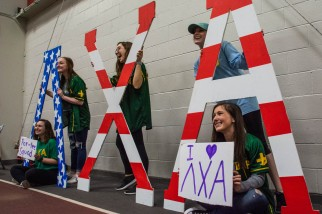 Supporters pose for a photo during Ball State's Lambda Chi Alpha annual philanthropy event, Lambda Open, on Sunday, April 7, 2019, in the Field & Sports Complex where supporters can play a round of putt-putt for $10 per game. All money raised during the event is donated to Second Harvest Food Bank.