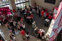 Ball Sate students, staff, faculty, and alumni gather in the David Letterman Building April 9, 2019 for breakfast during One Ball State Day. One Ball State is an all in Initiative to unite and show their cardinal spirit. Eric Pritchett, DN