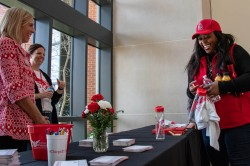 Ball State hands out a variety of swag to promote One Day Ball State in the David Letterman Building April, 9, 2019. One Day Ball State is a daylong event where current members and alumni fundraise money for the Ball State Foundation. Eric Pritchett, DN