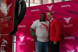 Dr. Gabriel Tait and university president Geoffrey S. Mearns pose for a selfie for One Day Ball State April 9, 2019 in the David Letterman Building. One Day Ball State is a fundraising event for the Ball State Foundation that provides scholarships for students at the university. Eric Pritchett, DN